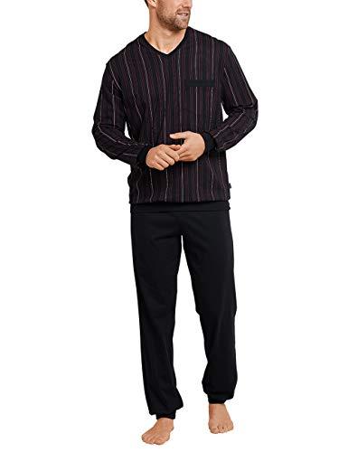 Schiesser Herren Anzug Lang Zweiteiliger Schlafanzug, Schwarz (Schwarz-Gem. 006), X-Large (Herstellergröße: 054)