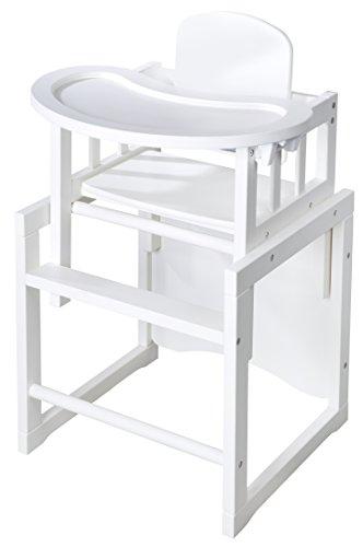 roba Kombi-Hochstuhl, Kinderhochstuhl mit verstellbarem Essbrett wandelbar zu Tisch & Stuhl, Holz Hochstuhl weiß