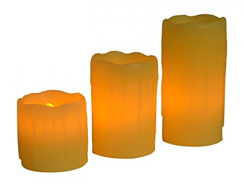 Quantio 3-tlg. LED Echtwachs Kerzen SET - flammlose Wachskerze - Flackerlicht - Stumpenkerze - batteriebetrieben - Gartenlicht - Deko