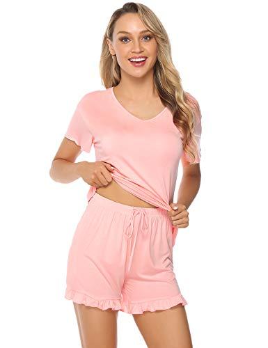 Hawiton Damen Schlafanzug Pyjama Shorts Kurz Sommer Hausanzug Sleepwear mit Kurzer Schmetterlingärmel Rosa S - Rosa Kurzer Schlafanzug