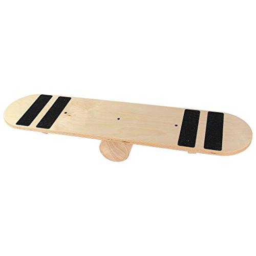 POWRX Indoor Balance Board aus Holz I Balance Trainer Balancierbrett Skateboard I Ideal für Kraft- und Gleichgewichtsübungen