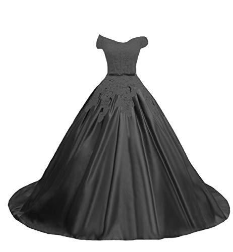 O.D.W Damen Tuell A-Linie Lange Appliques Spitze Vintage Brautkleider Gotisch...