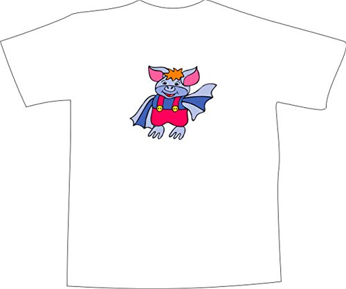 TShirt E965 Schönes TShirt mit farbigem Brustaufdruck Logo / Grafik Comic  Design schweinischer Superheld mit roter Hose Mehrfarbig