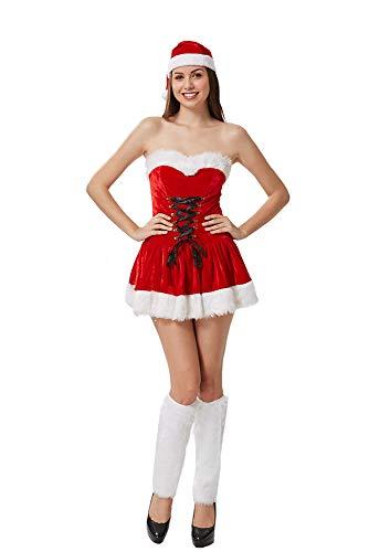 XSQR Sexy Rot Weihnachtsmädchen Kleid Tube-Top-Set Weihnachtskostüm Sexy -