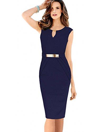 Misshow Damen Business Kleid Partykleid Pencil Etuikleider Tunika Sommerkleid Damen Knielang