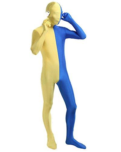 Partner Kostüme Gute (Unisex Ganzkörperanzug Erwachsene Breathable Halloween Kostüm Gelb Blau)