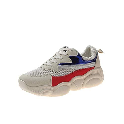 lde Mischungs Farben Freizeitschuhe Bequeme Mesh Ultra-Leicht Breathable Niedrig-Oberseite Turnschuhe Running Fitness Sneaker (Beige, 36 EU) ()