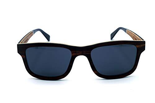 Vagance Echtholz Sonnenbrille aus Sandelholz und Zebraholz mit toller Echtholzbox (schwarz)