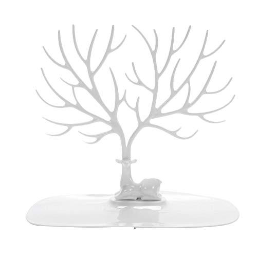 Jingyuu Expositor Árbol joyero de plástico Soporte de Joyas Pendientes Pulseras Anillos diseño de Ciervo Organizador Almacenamiento de Joyas, Blanco, 25×23CM