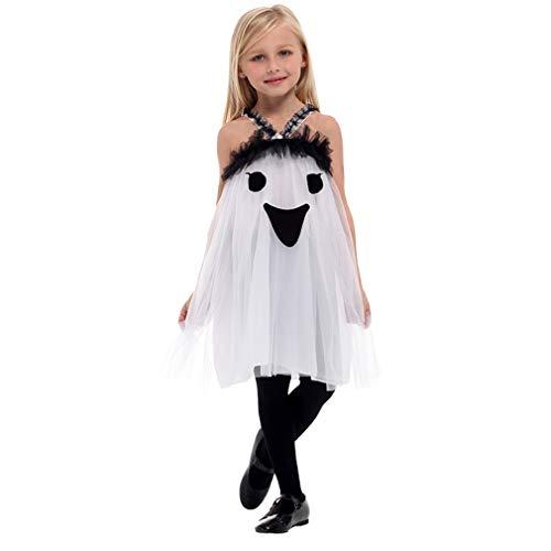 Unbekannt Halloween Kinderkleidung Mädchen Prinzessin Kleid Kleine Hexe Vampir Kostüm Maskerade Show Kleid Smiley Ghost Kleid geeignet für 130-140 cm ()