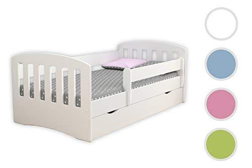 Kocot Kids Kinderbett Jugendbett 80x160 80x180 Weiß mit Rausfallschutz Matratze Schublade und Lattenrost Kinderbetten für Mädchen und Junge - Classic I 180 cm