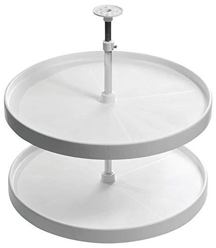 Gedotec Vollkreis-Schwenkbeschlag Drehteller höhen-verstellbar mit Tablarboden für Eckschrank weiß | Höhe: 652-717 mm | MADE IN GERMANY | 1 Set - Küchenschrank Drehbeschlag-Set mit Schwenk-Böden -