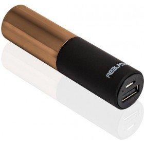 RealPower PB-Lipstick, 2.500mAh Powerbank/Externer Akku/Ladegerät, 1 x Out (USB), Lippenstift-Design, für iphone, Samsung Galaxy und weitere, (Schwarz/Gold)