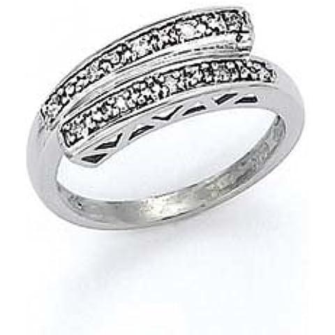 14kt oro bianco diamante grezzo Criss Cross Anello, misura N 1/2 - Diamante Criss Cross Anello