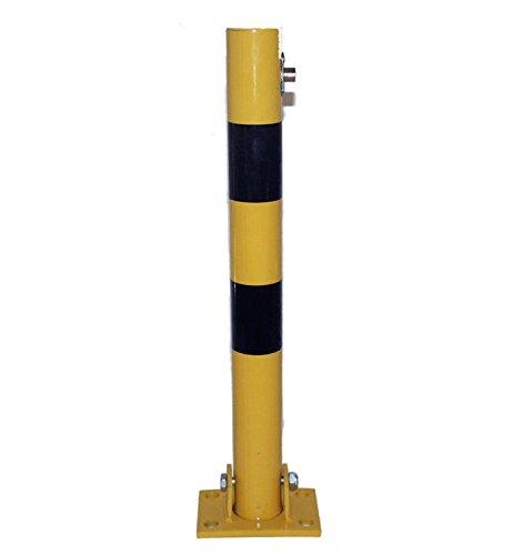 h Signalgelb Parkplatzsperre Komplettset mit 3 Schlüssel inkl. Bodenanker - klappbar - Top Qualität (Boller Hat)