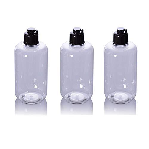 3PCS 300ML 10OZ vide bouteille en plastique transparent rechargeable avec couvercle noir rabattable toner Pure Dew Jar support de pot contenant cosmétique conditionneur