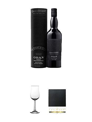 Oban Bay Reserve Game of Thrones Night's Watch Single Malt Whisky 0,7 Liter + Nosing Gläser Kelchglas Bugatti mit Eichstrich 2cl und 4cl 1 Stück + Schiefer Glasuntersetzer eckig ca. 9,5 cm Durchmesser