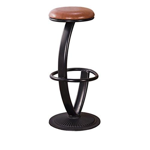 GJM Shop tabouret pivotant à 360 ° réglable en hau Fer Cuirette + Coussin Éponge Tabouret De Bar Rond Personnalité Tabouret De Bar Simple Tabouret Haut 38 * 76cm --- Sponge + Leatherette / surface de chaise en bo
