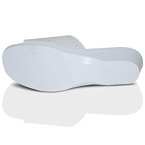 Femmes En Cuir Plat Décontractéété Confort Plage À Enfiler Buckle Sandales Chaussures Pointure 3-8 UK Blanc À Enfiler Buckle