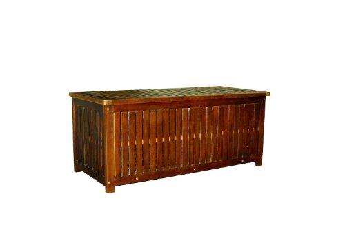 Nexos Divero Auflagenbox Kissen-Box Garten-Truhe behandelte Oberfläche Akazien-Holz massiv 130 x 58 x 55 cm inkl. klappbarem Deckel Regenschutz-Hülle