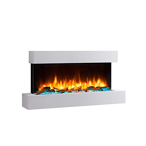RICHEN Elektrokamin Fuego - Wandkamin Mit Heizung, LED-Beleuchtung, 3D-Flammeneffekt & Fernbedienung - Weiß