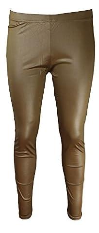 Pantalon Femme Dore - Leggings pour Femmes aspect cuir en doré