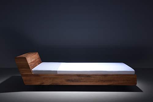 MAZZIVO LUGO Hochwertiges Holz Bett schlicht & zeitlos filigran modern edel & elegant - italienisches Design 120 140 160 180 200 Überlänge Eiche Erle Buche Esche Kirschbaum (Erle, 120 x 210 cm) -