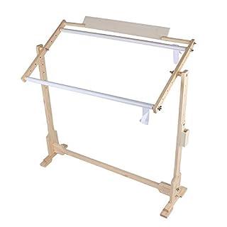 Adjustable Cross Stitch Floor Stand, Wooden Frame Embroidery Cross Stitch Needlework Lap Frame Craft Tool (M:78x47x80cm)