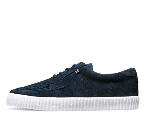T.U.K. Shoes Mens EZC Navy Suede White Shoe blue