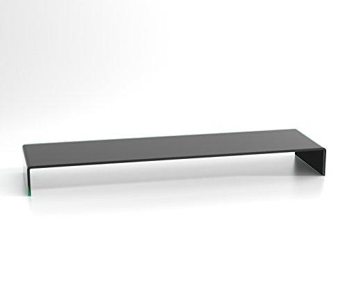 DURATABLE® TV Glasaufsatz Glastisch LCD Tisch Aufsatz Monitorerhöhung Fernsehtisch Glas Schrankaufsatz Aufsatz Fernseher Erhöhung schwarz 1100mm x 300mm x 130mm