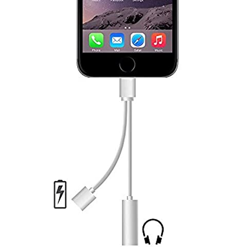 2 in 1 Lightning Adapter for iPhone 7, Charger and 3.5mm Earphone Jack Cable Adapter (No Music Control) for the iPhone 7 7 Plus 6S 6 iPod