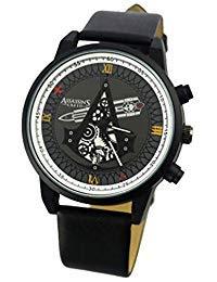 Pomutre Herren Uhren Quarzuhr mit Schwarzem Uhrwerk Japanisches Quarzwerk Uhr for Assassins Creed Watch (Gürtel Assassins Creed)