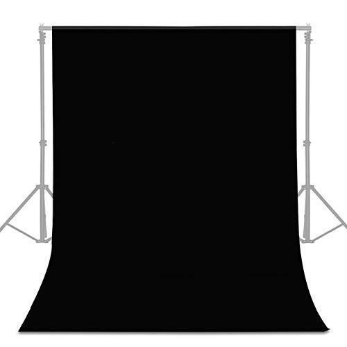 UTEBIT Fotostudio Hintergrund 1.8x2.8M/6x9FT Anti-Falten Backdrop Schwarz Faltbare Hintergrundstoff mit Stangentasche für Hintergrundsystem Photo Fotografie Videoaufnahme