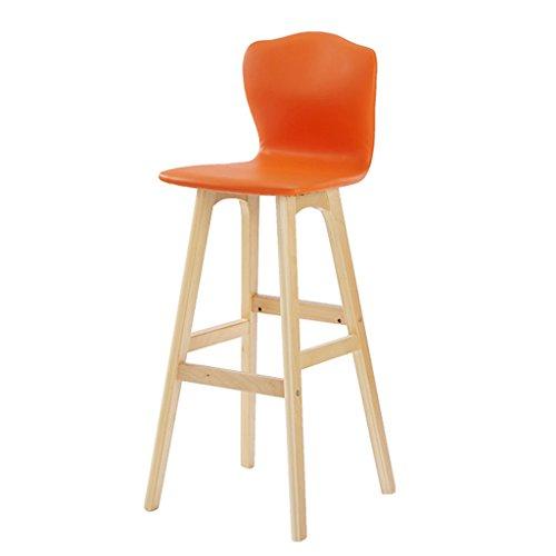 WEI MING Shop- Retro Bar Fauteuil Chaise haute en bois massif en bois massif pour meubles de cuisine et de cuisine, coussin en cuir PU Tabouret de bar (Couleur : Orange, taille : 65cm)