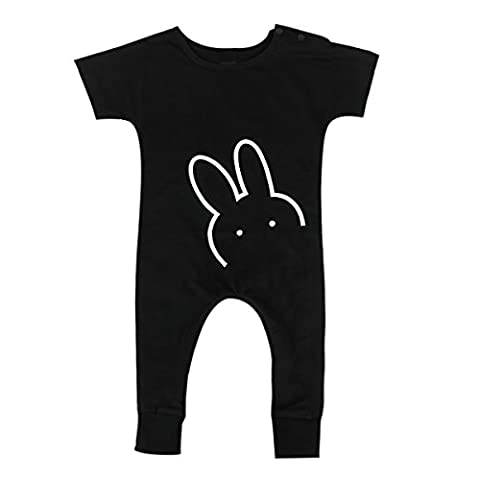 Infant Baby Boy Girls Short Sleeve Cute Rabbit Romper Jumpsuit