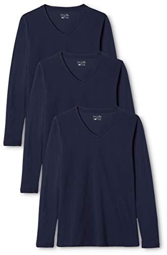 Berydale Camiseta de manga larga de mujer, con cuello de pico, lote de 3, en varios colores, Navy, 2XL