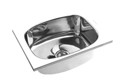 SS Sink Stainless Steel Single Bowl (18x16x8 inches, Silver Chrome)