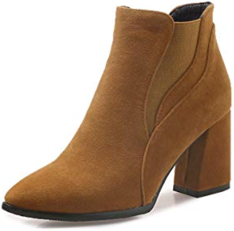 ed37d3ee18867 JING Chaussures à talon femme Mode Automne et Hiver Hiver Hiver  à Talons Pointus épais avec Bottes pour Femmes Bottes pour.