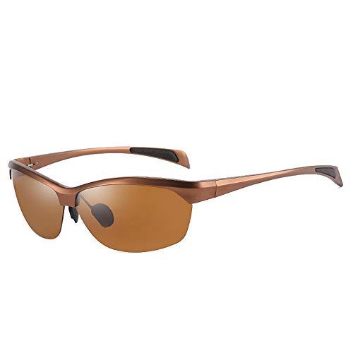 Hinyyee Unisex Leichtgewicht Rahmenlos Polarisierte Sonnenbrille UV400-Schutz Fahren Al-Mg-Metall Halbrahmen Gespiegelt Brille (Color : Braun, Size : Kostenlos)