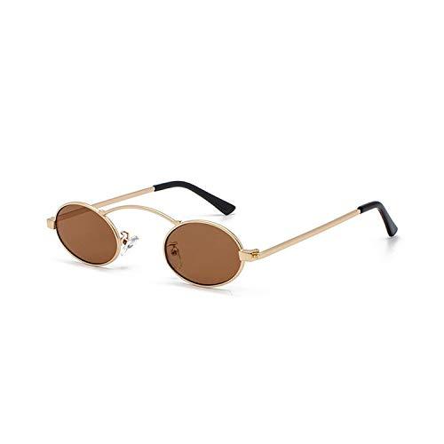 FIRM-CASE Frauen Oval Sonnenbrille Mode für Männer Kleinen Metall-Gläser Retro Ozean-Objektiv, Rot, Gelb Brille, 6