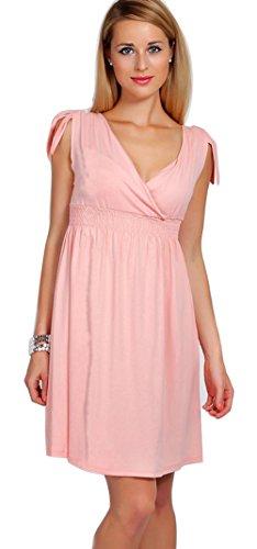 u-shot da donna, collo a V tunica senza maniche con volant cocktail party A-Line Dress Pink