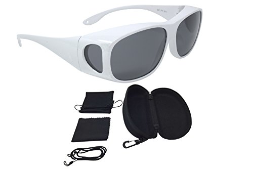 Überzieh Sonnenbrille Überbrille Sonnenüberbrille CLASSIC EDITION polarisiert UV 400 unisex inkl. Hardcase und Zubehör das Original aus der TV-Werbung (Weiß, Grau)