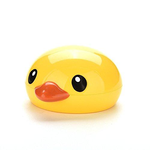 Velishy Ente Kontaktlinsenbehälter-Set mit Spiegel, niedlich, Gelb