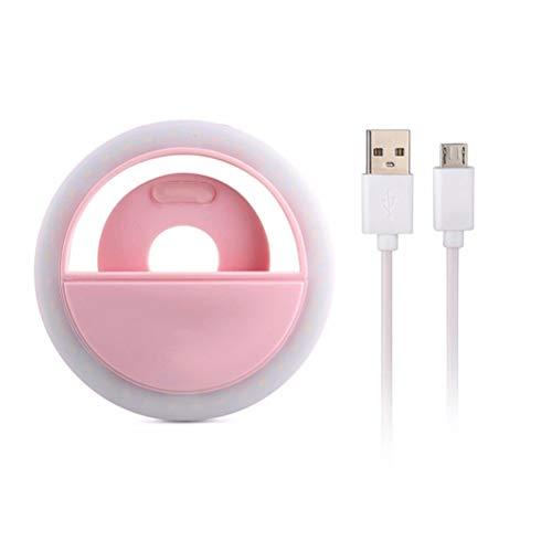 Handy Selfie Licht Clip Art FüHrte Ring Art Einstellbare Helligkeit SelbstauslöSer SchöNheit FüLlen Licht Usb Aufgeladen,Pink