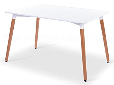 Eiffel Designer Dining Table 120x80cms Small Rectangular White With Natural Wood Legs Art Deco Eames Inspired