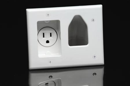 Plate Recessed In Wall White Cable Pass Through/Receptacle With Headphones by Datacomm Electronics Datacomm Electronics