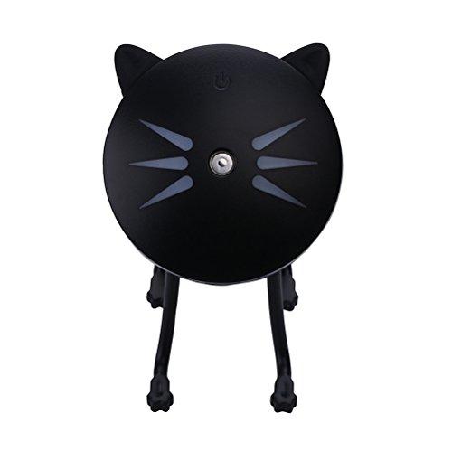 VORCOOL LED Mini Humidificador de Aroma Portátil USB Purificador de aire de Gato (Negro)