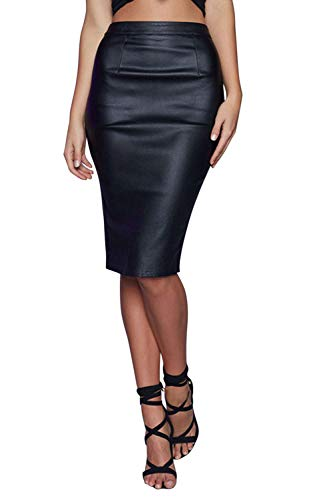 Jolisson Damen Rock PU-Leder Bodycon Bleistift Rock Wetlook Knielang Hohe Taille Slim Fit Eng Lederrock -