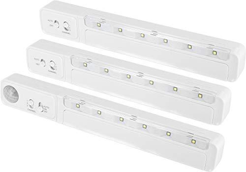 LED Funk Unterbauleuchte 3er SET mit Bewegungsmelder + Dämmerungssensor - Batteriebetrieb - kaltweiß (6000 K)