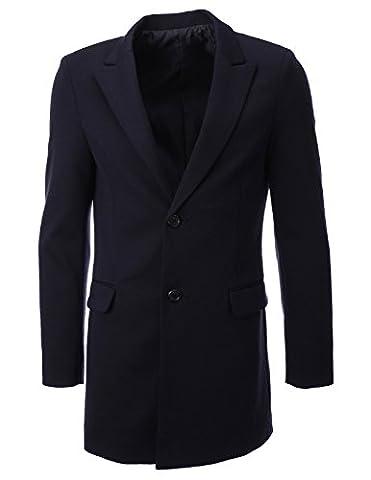 FLATSEVEN Mens Designer Peaked Lapel Long Blazer Jacket (BJ108) Navy,